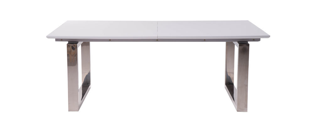 Table manger extensible laqu e blanc president miliboo - Table laquee extensible ...