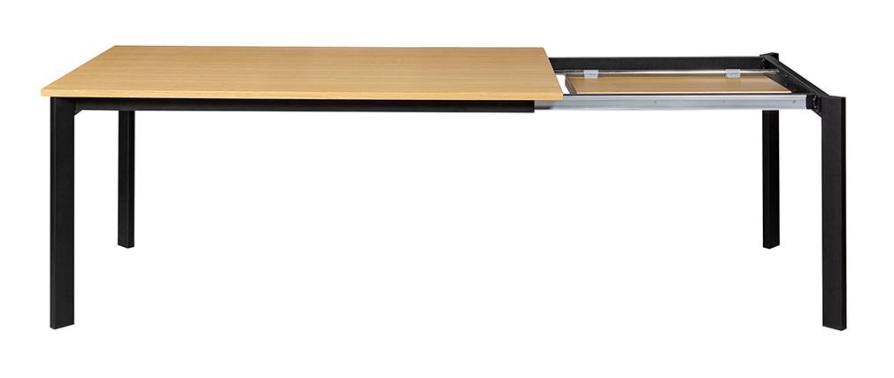Table à manger extensible placage chêne et métal L162-232 cm MEEVLA