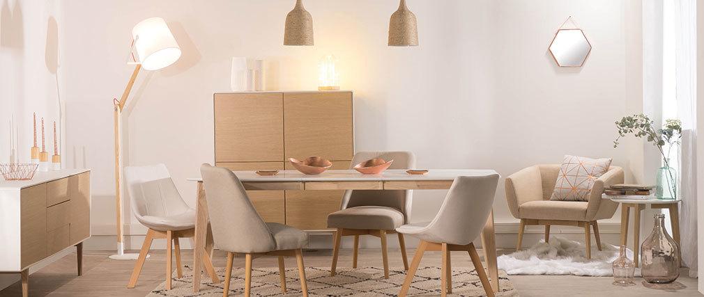 Table à manger extensible scandinave blanc et bois clair L150-200 LEENA