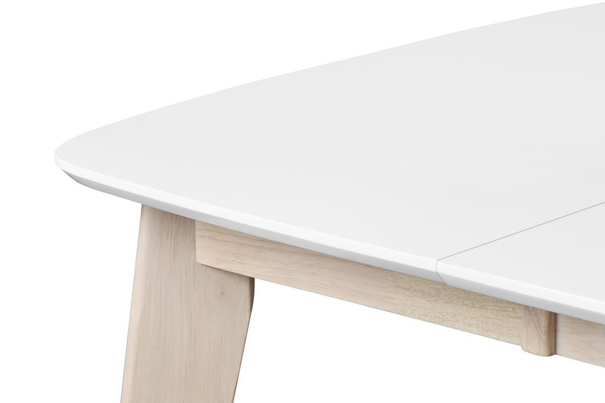 Table A Manger Carree table à manger extensible scandinave carrée blanche et bois