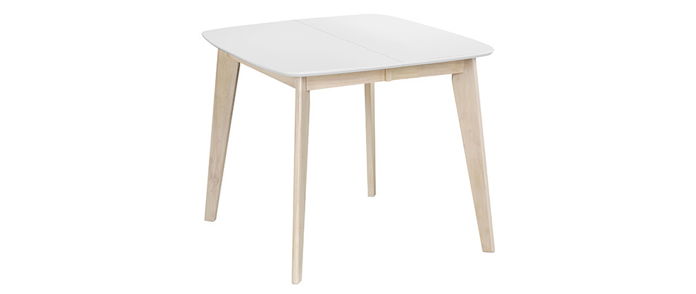Table à manger extensible scandinave carrée blanche et bois L90-130 cm LEENA