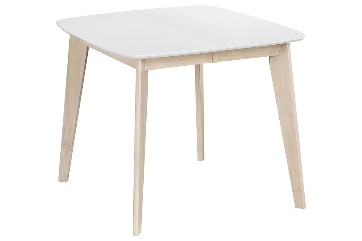 Table A Manger Extensible Scandinave Carree Blanche Et Bois L90