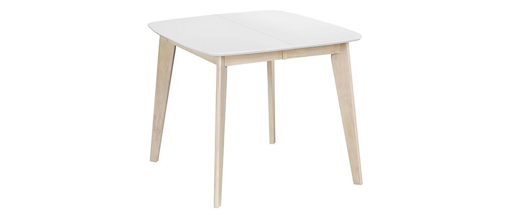 Table à manger extensible scandinave carrée blanche et bois L90-130 ...