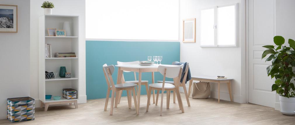 Table à manger extensible scandinave carrée placage chêne L90-130 cm LEENA