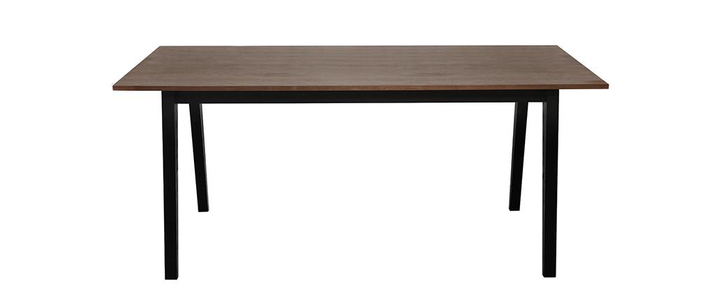 Table à manger fixe design noyer et noir mat NORMA