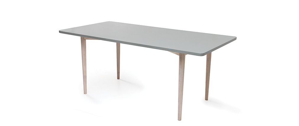 Table à manger fixe scandinave chêne blanchi et gris mat NARVIK