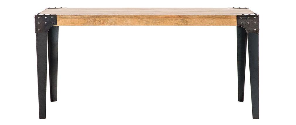 table manger industrielle acier et bois 160 cm madison. Black Bedroom Furniture Sets. Home Design Ideas