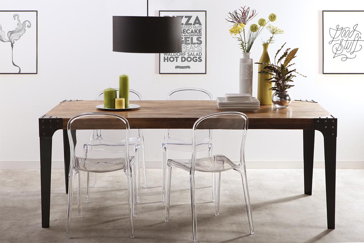 Table À Manger Industrielle table à manger industrielle acier et bois l200 cm madison