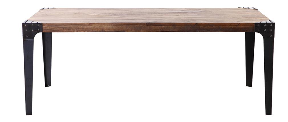 Table à manger industrielle acier et bois L200 cm MADISON