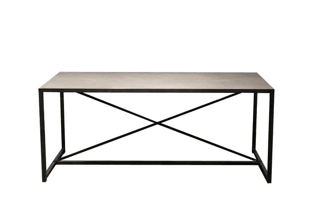 Table manger industrielle en b ton et m tal rawy miliboo - Table a manger beton ...