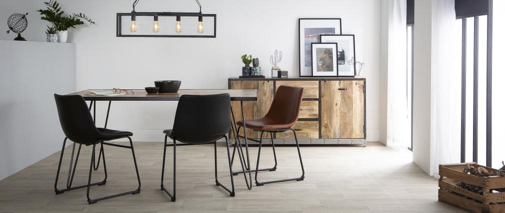 Table à manger industrielle rectangle bois métal ATELIER