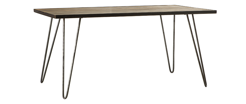 Table à manger industrielle rectangle bois métal L160 cm ATELIER