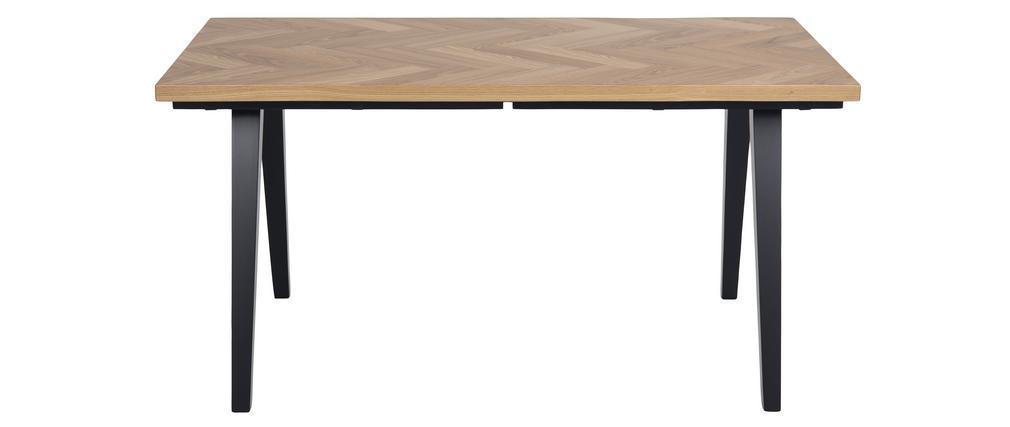 Table à manger motif chevron finition chêne et pieds noirs TRAVIS