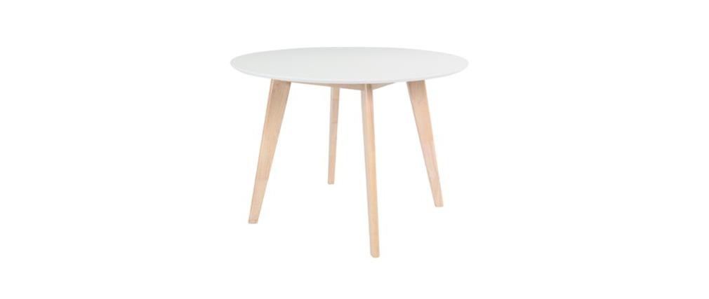 Table manger ronde 105 cm blanc et bois leena miliboo for Table a manger blanc et bois