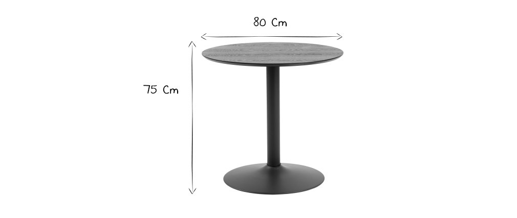 Table à manger ronde bois noir et métal D80 cm KALI