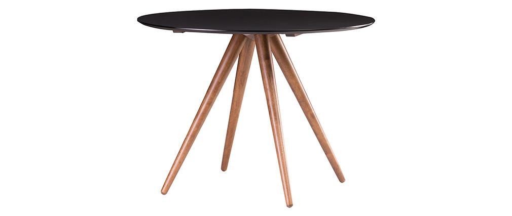 Table à manger ronde design 106 cm noyer et noir WALFORD