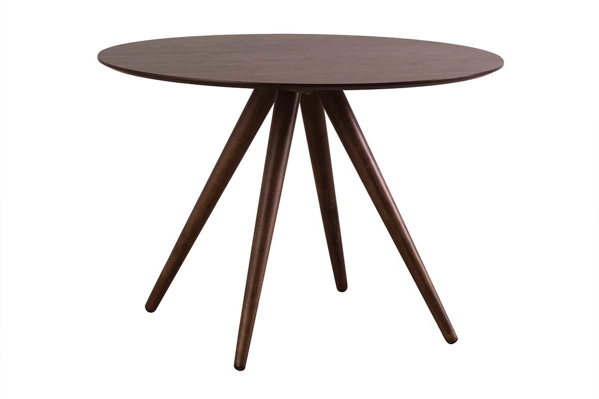 Table manger ronde design 106 cm noyer walford miliboo for Table a manger ronde design