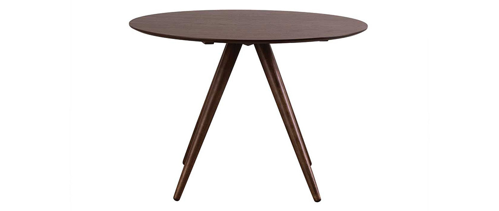 Table à manger ronde design 106 cm noyer WALFORD