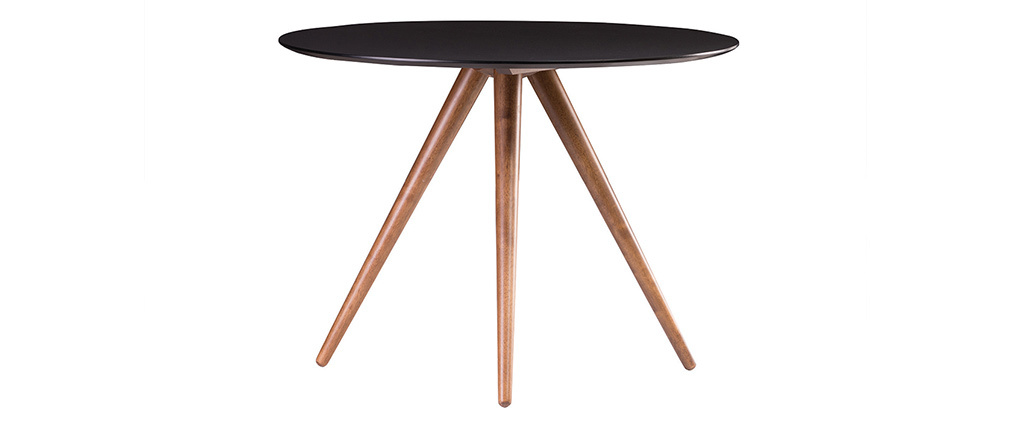 Table à manger ronde design noyer et noir D106 cm WALFORD