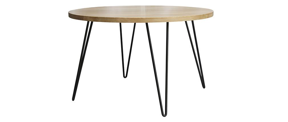 Table à manger ronde en manguier massif D116 cm VIBES