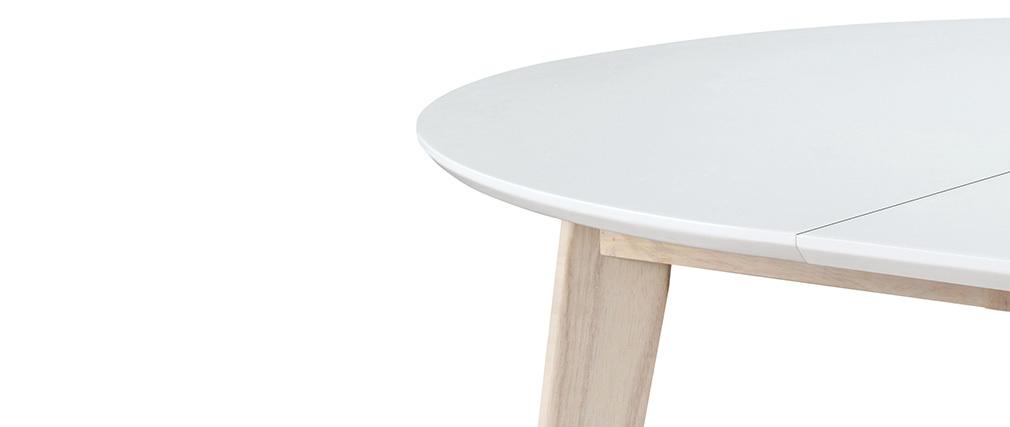 Table à manger ronde extensible blanc et bois L120-150 cm LEENA