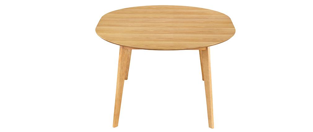 Table à manger ronde extensible finition chêne L120-150 cm LEENA