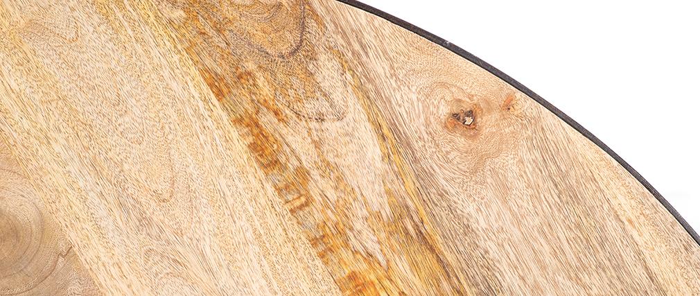 Table à manger ronde industrielle bois métal ATELIER