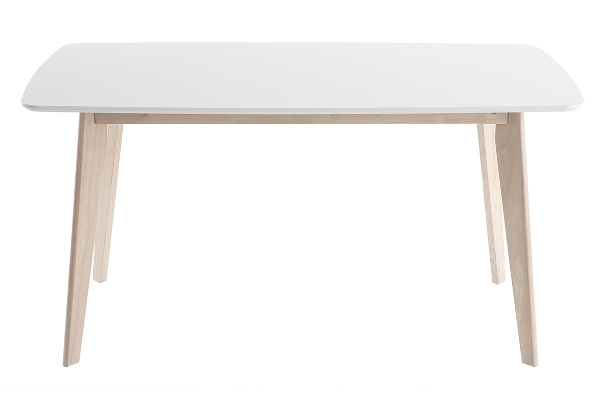 Table à manger scandinave blanc et bois clair L7 cm LEENA - Miliboo