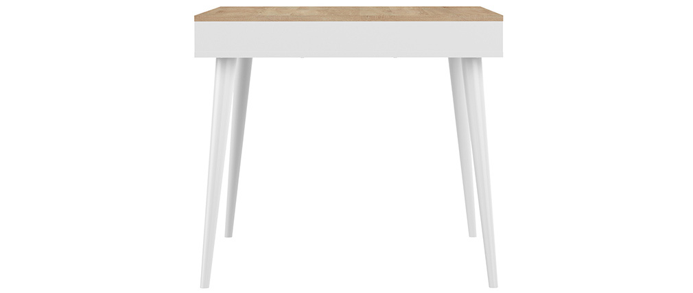 Table à manger scandinave bois et blanc STRIPE