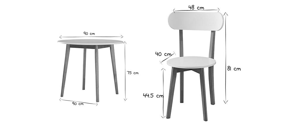 Table à manger scandinave et 4 chaises blanc et bois LEENA