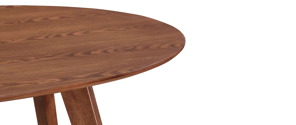 Table à manger vintage ovale noyer L160 cm MARIK
