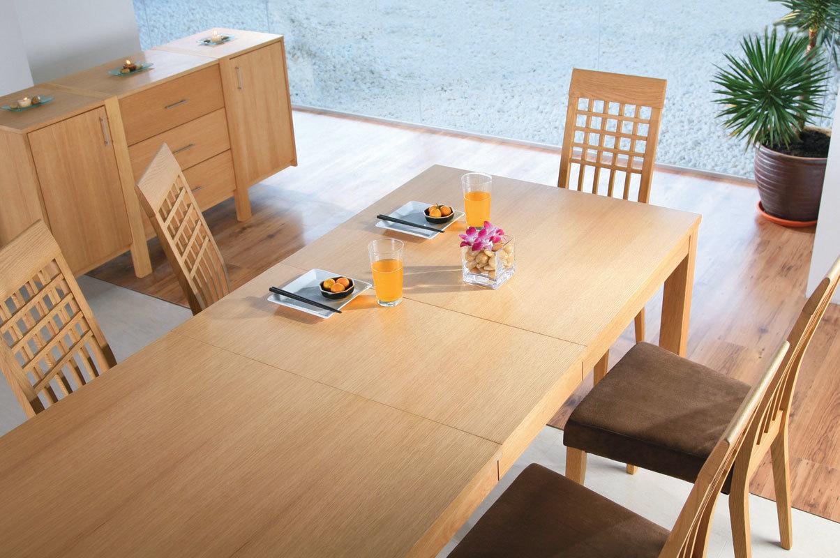 Table rallonges gilmore chene massif coloris ch ne - Table chene clair avec rallonge ...