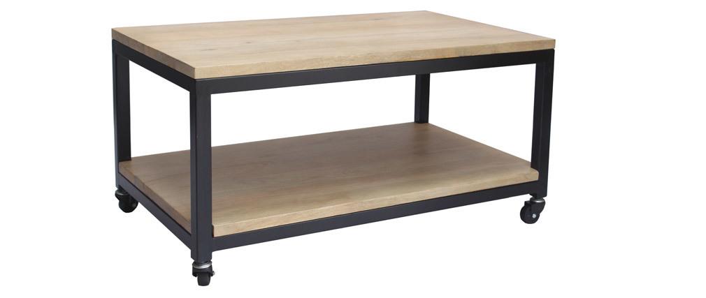 Table basse à roulettes en manguier massif et métal FACTORY