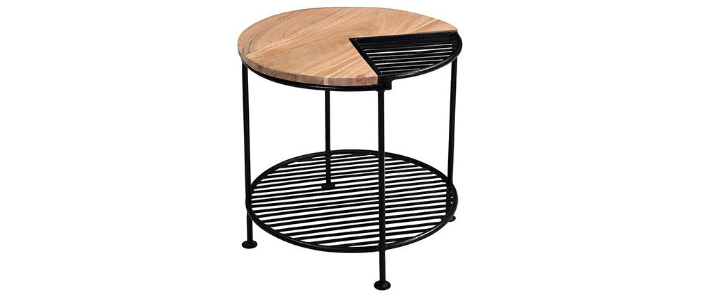 Table basse acacia massif et métal noir PART