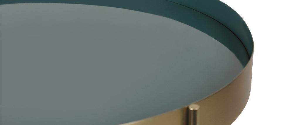 Table basse avec plateau réversible bleu canard / blanc SATEEN - Miliboo & Stéphane Plaza
