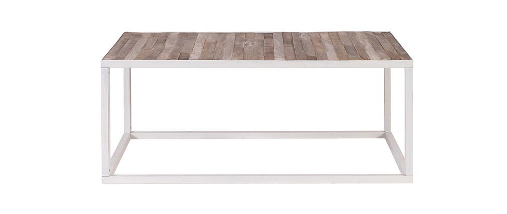 Table basse bois et métal blanc 100 x 60 ROCHELLE