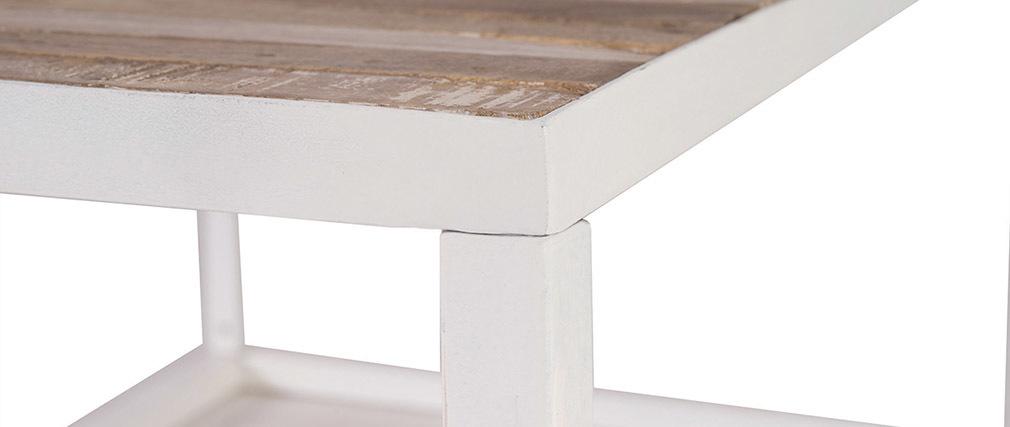 Table basse bois et métal blanc L100 cm ROCHELLE