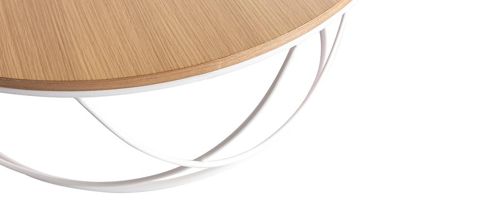 Table basse bois et métal blanc ronde 80 cm LACE - Miliboo & Stéphane Plaza