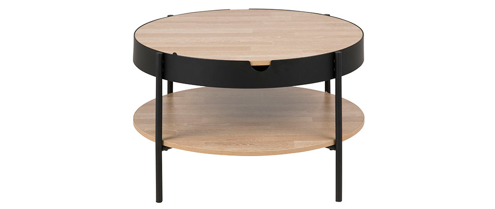 table basse bois et m tal noir 75 cm suzie miliboo. Black Bedroom Furniture Sets. Home Design Ideas