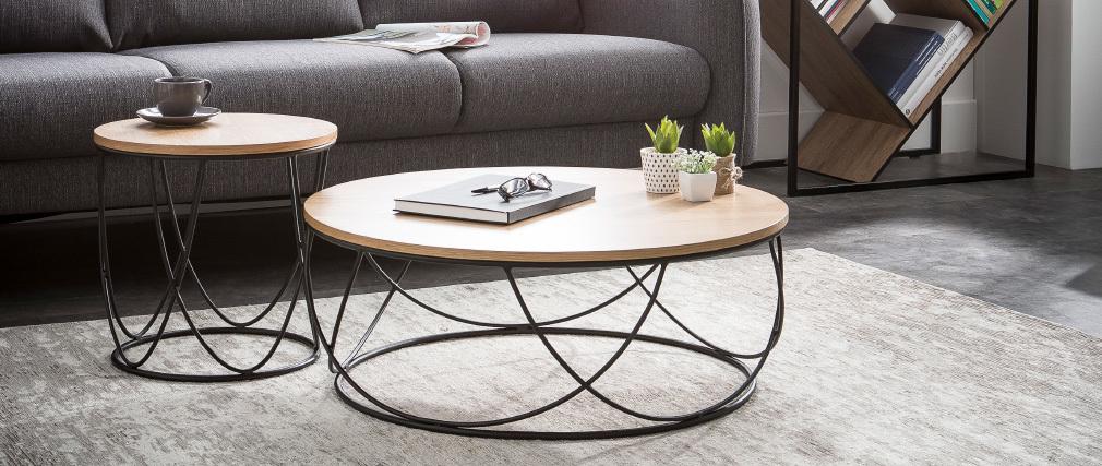 Table basse bois et métal noir ronde 80 cm LACE