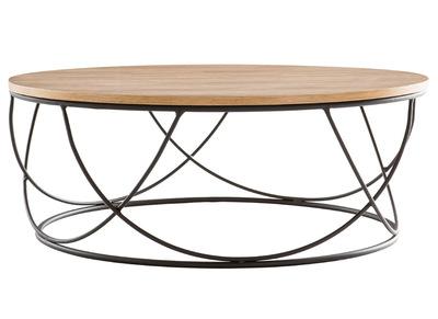 Table Basse Bois Et Metal Noir Ronde 80 Cm Lace