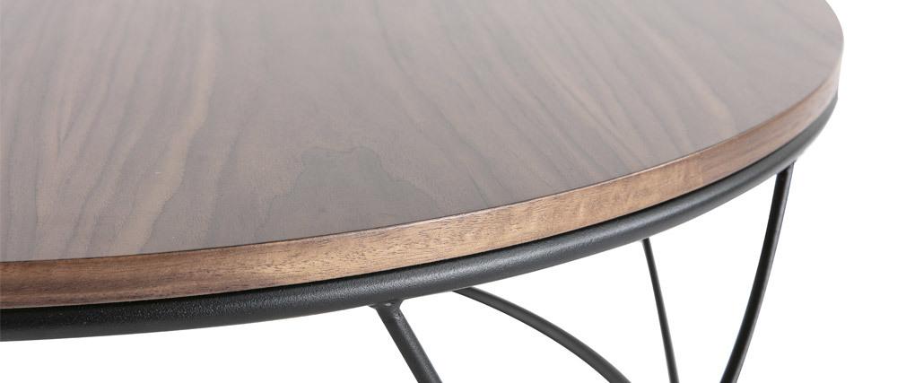 Table basse bois foncé et métal noir ronde 80 cm LACE