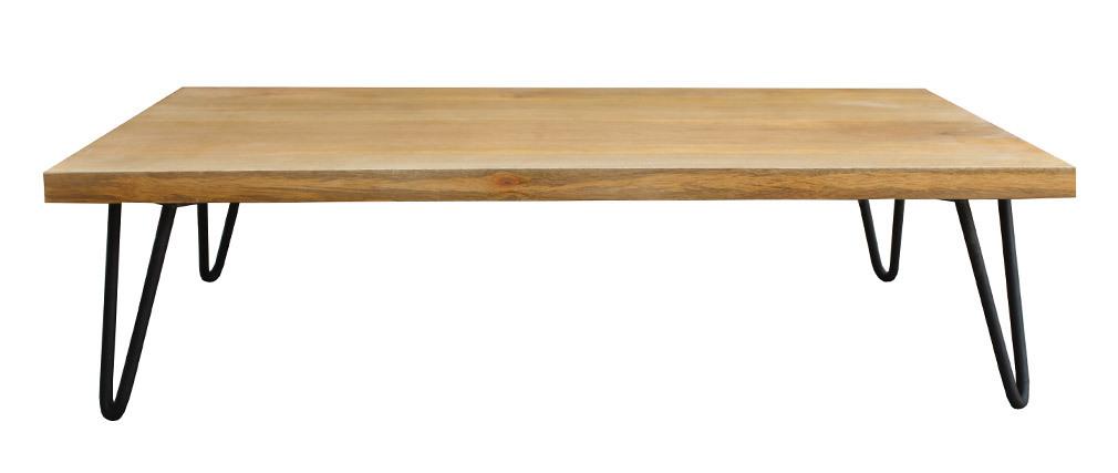 Table basse bois manguier pieds épingle métal VIBES