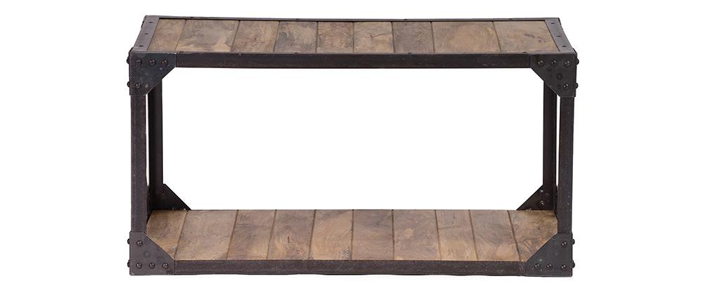 Table basse bois massif et métal industrielle ATELIER