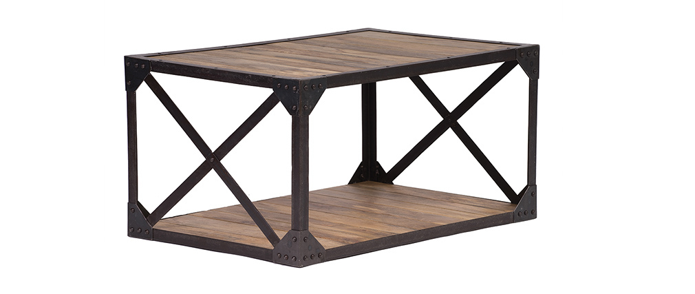 Table basse bois massif et m tal industrielle atelier for Table basse industrielle metal et bois