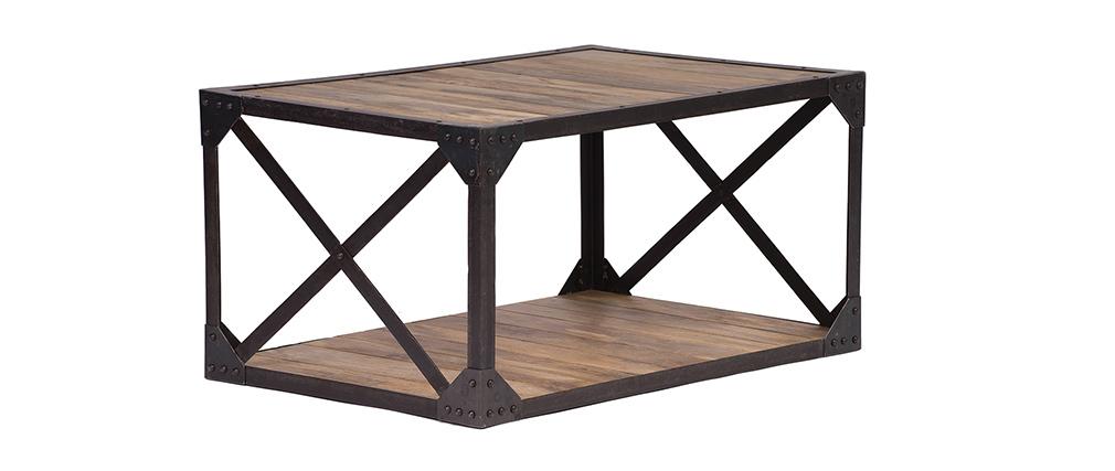 Table basse bois massif et métal industrielle ATELIER Miliboo # Table Basse Bois Massif Et Métal Industrielle Atelier