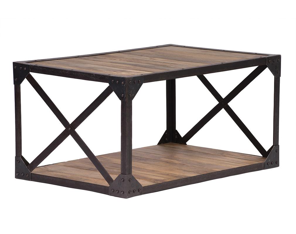 Table basse bois massif et métal industrielle ATELIER - Miliboo