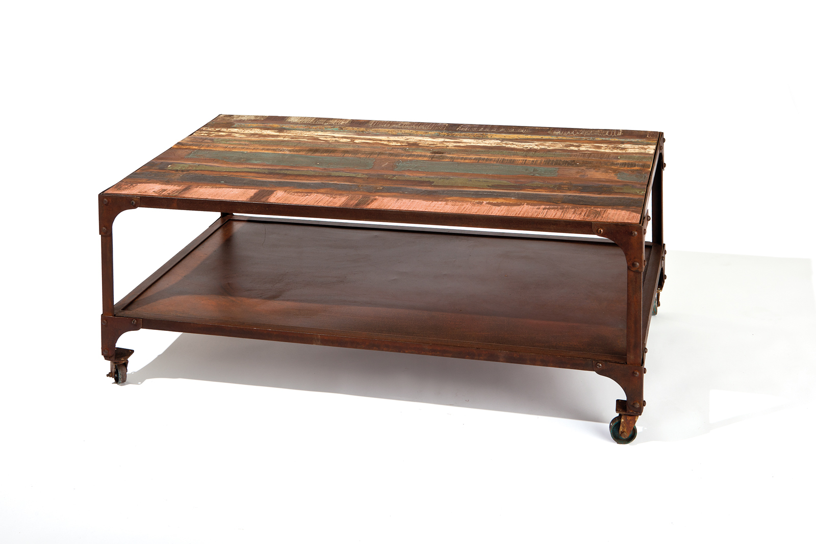 Table basse bois recycle - Table basse multicolore ...