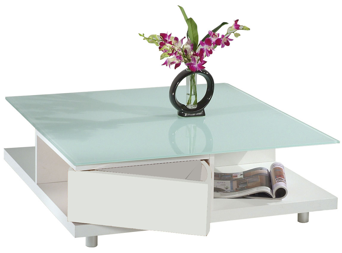 Table basse carr e blanche moderne new york miliboo - Table basse moderne blanche ...