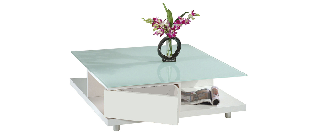 Table basse carr e blanche moderne new york miliboo - Table basse new york pas cher ...